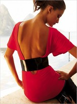 Belted open-back top