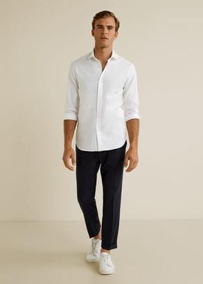 MANGO MAN - Slim fit cotton shirt white - S - Men