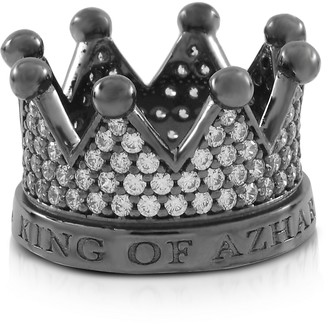 R & E Re Silver and Zircon Crown Ring