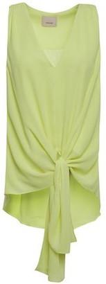 Cinq à Sept Aisha Tie-front Neon Crepe Top