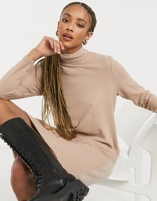 Pieces sweater dress with high neck in camel