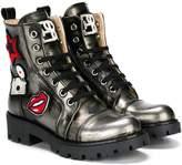 Ermanno Scervino patch-appliquéd metallic ankle boots