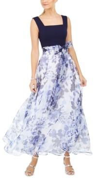 Brinker & Eliza Floral-Print Sash Gown