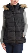 U.S. Polo Assn. Black Faux Fur-Hood Puffer Vest