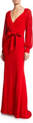 Badgley Mischka Long-Sleeve Mock-Wrap Crepe Gown