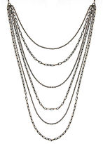 1928 Jewelry 1928 6-Row Black and Gold-Tone Layered Chain Necklace