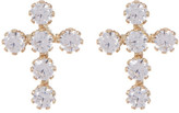 Candela 14K Yellow Gold CZ Cross Stud Earrings