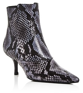 Anine Bing Women's Ava Snake-Embossed Kitten-Heel Booties
