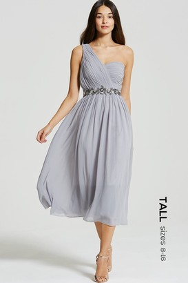 Tall Grey One Shoulder Embellished Midi Dress