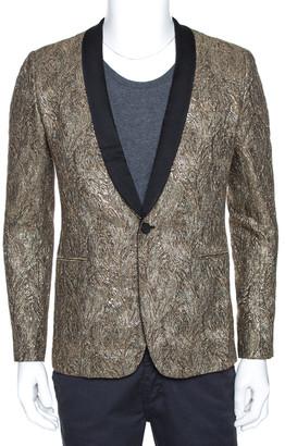 Saint Laurent Paris Gold Lurex Jacquard Shawl Lapel Jacket M