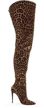 Christian Louboutin Metrolisse 100 Leopard Print Over The Knee Boots - Womens - Leopard