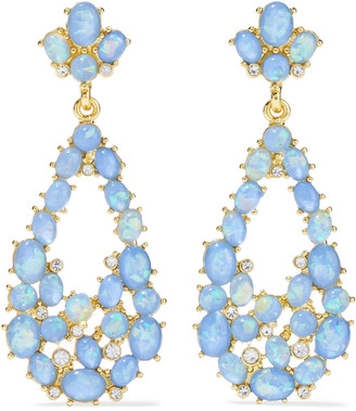 Kenneth Jay Lane Gold-plated, Stone And Crystal Earrings