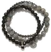 Satya Jewelry Labradorite, Black Onyx, Hematite Sterling Silver Mandala Stretch Bracelet