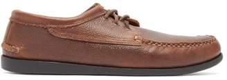 Quoddy Blucher Leather Moccasins - Mens - Dark Brown