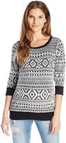 Three Seasons Maternity Women's Maternity Longsleeve Fuzzy Trim Top