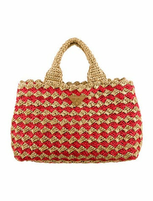 Prada Raffia Crochet Tote Tan