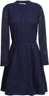 MICHAEL Michael Kors Pleated Broderie Anglaise Cotton Mini Shirt Dress