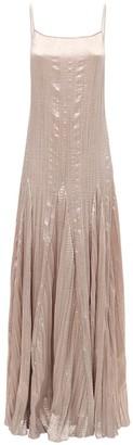 Sandra Mansour Plisse Satin Long Dress