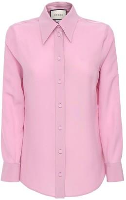 Gucci Logo Embroidery Silk Crepe Shirt
