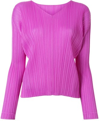Pleats Please Issey Miyake V-Neck Technical Pleated Blouse