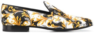 Versace Baroque-Print Silk Slippers