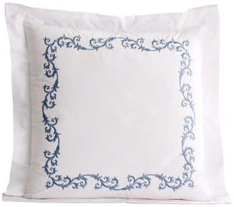 Hamburg House Tuscany Euro Pillow Shams, Set of 2, White w/ Rockport Blue Embroidery
