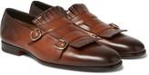 Santoni - Burnished-leather Monk-strap Shoes