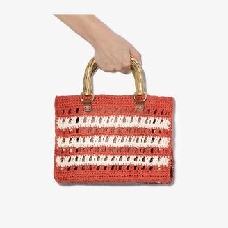 MEHRY MU red and white Lucia mini raffia bag