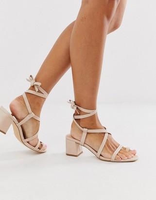 Truffle Collection toe loop tie leg heeled sandals