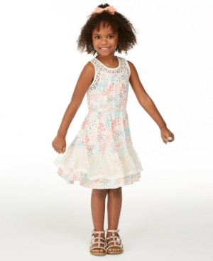 Epic Threads Little Girls Crochet Floral-Print Dress, Created for Macy's