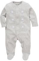 John Lewis Bunny Velour Sleepsuit, Grey