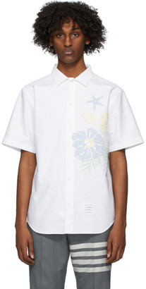 Thom Browne White Oxford Floral Casual Fit Shirt