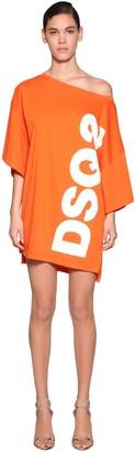 DSQUARED2 Logo Print Cotton Jersey T-Shirt Dress
