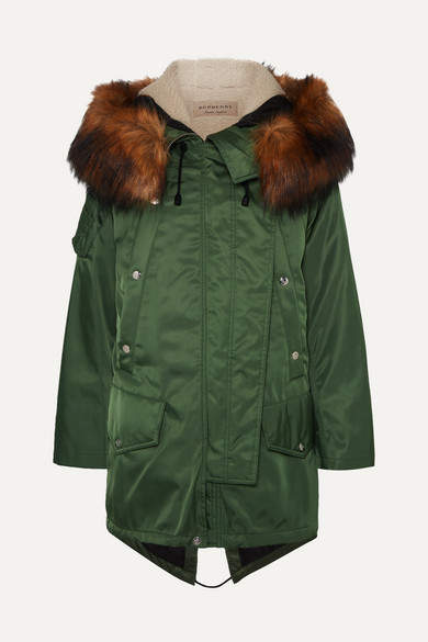 8180298197f92 Hooded Parka Faux Fur Green - ShopStyle