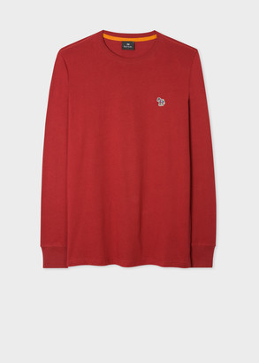 Paul Smith Men's Dark Red Organic-Cotton Zebra Logo Long-Sleeve T-Shirt