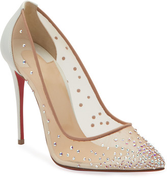 Christian Louboutin Follies Strass 100mm Mesh Red Sole Pumps