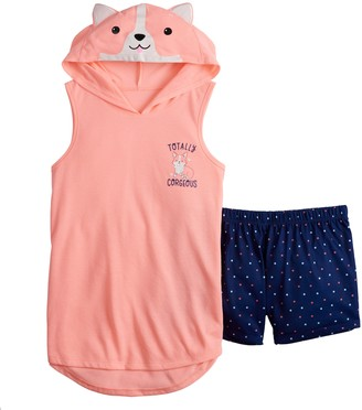 So Girls 5-14 Critter Hoodie and Matching Shorts Pajama Set