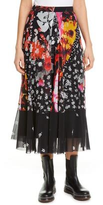 Fuzzi Floral & Dot Mesh Skirt