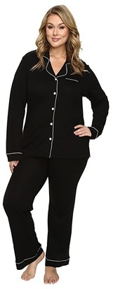Cosabella Plus Size Bella PJ Long Sleeve Top and Pants PJ Set (Black/Ivory) Women's Pajama Sets
