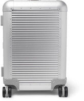 Fabbrica Pelletterie Milano - Spinner 53cm Leather-trimmed Aluminium Carry-on Suitcase - Silver