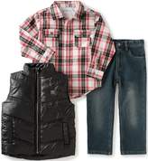 Calvin Klein Baby Boys' Shirt, Vest Diagonal Quilt and Jean Set
