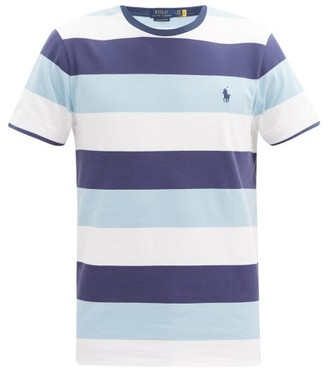 Polo Ralph Lauren Logo-embroidered Striped Cotton T-shirt - Blue Multi