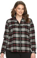 Chaps Plus Size Plaid Brushed Twill Shirt