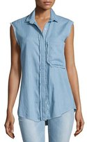 Nicholas Chambray Button-Front Sleeveless Shirt, Light Blue
