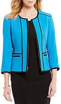 Kasper Petite Zip-Front Contrast-Trim Jacket