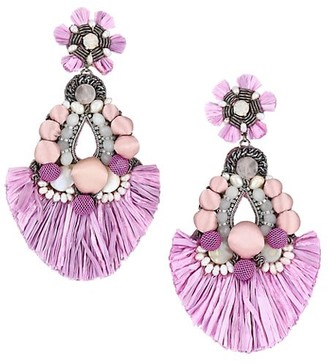 Ranjana Khan Raffia Tassel & Glass Beaded Drop Clip-On Earrings