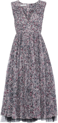 Philosophy di Lorenzo Serafini Layered Printed Plisse-silk And Point D'esprit Midi Dress