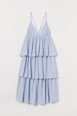 H&M Tiered V-neck Dress - Blue