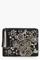 boohoo Ava Mono Embroidery And Bead Clutch