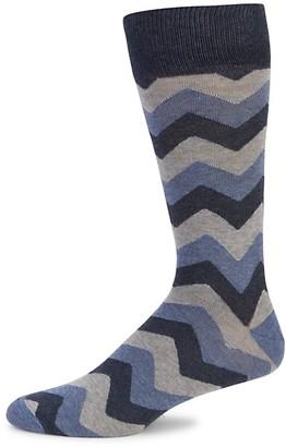 Saks Fifth Avenue Chevron Crew Socks